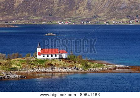 Church in fjord on Lofoten islands in Norway poster