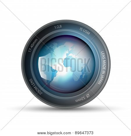 Camera Lens With Planet Earth Inside