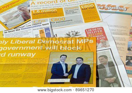 Liberal Democrat Party campaign leaflets