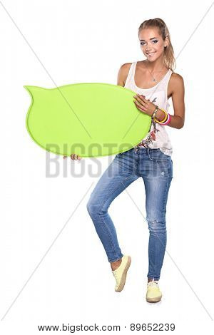 Young woman with blank board banner, isolated on white.
