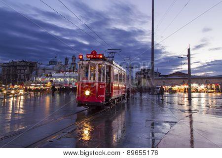 Historical Tram At Taksim Square