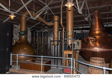 Dublin, Ireland - March 21, 2015: Wash still and spirit still pots to create whiskey at Old Jameson Distillery in Dublin