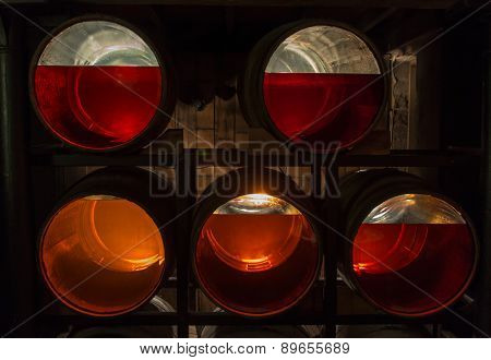 Dublin, Ireland - March 21, 2015: Transparent bottom barrels with Irish whiskey of different age (e.g. 8 12 14 years) in Jameson Distillery Dublin