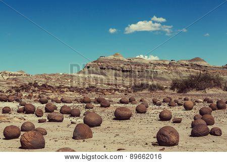Round stones Ischigualasto National Park, Moon Valley, San Juan, Argentina