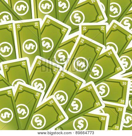 Greem Bills Cartoon Background Vector Illustration