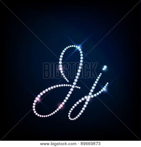 """Diamond glittering letter """"J"""" of sparkling brilliants (glitter font concept) poster"""