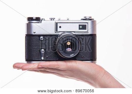 Classic 35Mm Photo Camera On Hand