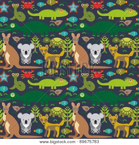 Animals Australia Snake, Turtle, Crocodile, Alliagtor, Kangaroo, Dingo. Seamless Pattern On  Dark Ba