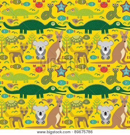 Animals Australia Snake, Turtle, Crocodile, Alliagtor, Kangaroo, Dingo. Seamless Pattern On  Green B