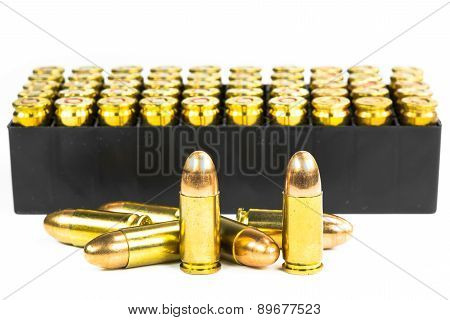 set of bullets isolated on white background poster