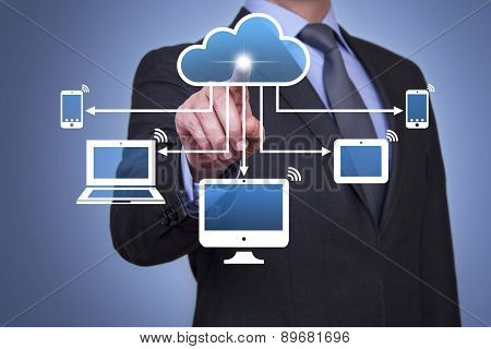Businessman Touching Cloud Button with Finger Businessman Touching Cloud Button with Finger