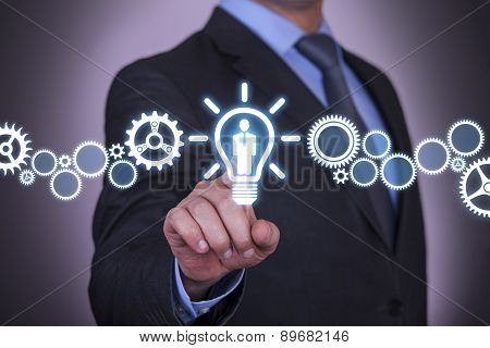 Businessman Touching Human Idea Concept