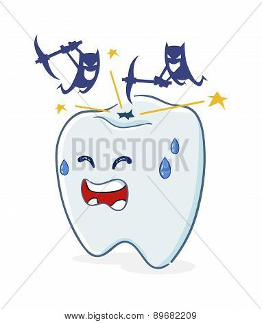 Tooth With Cavity And Bacteria