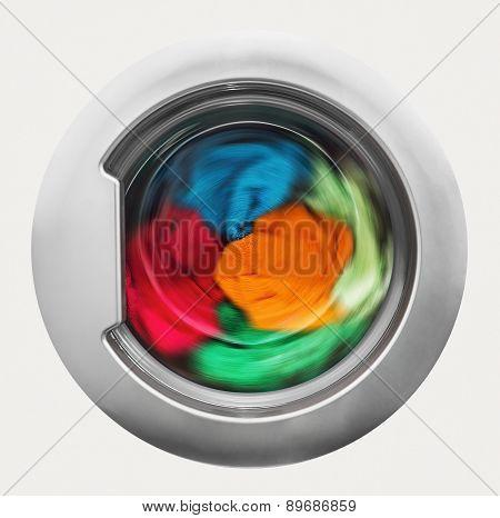 Washing Machine Door With Rotating Garments Inside