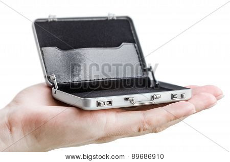 Hand Holds In The Palm Of A Small Open Metal Case