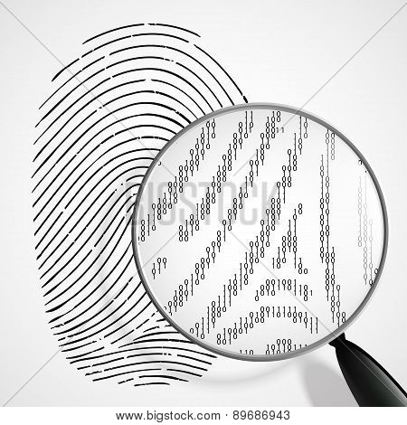 Fingerprint And Magnifying Glass