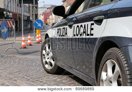 Italian Police Car During The Roadblock In The Street
