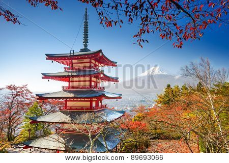 Mt. Fuji, Japan with Chureito Pagoda.