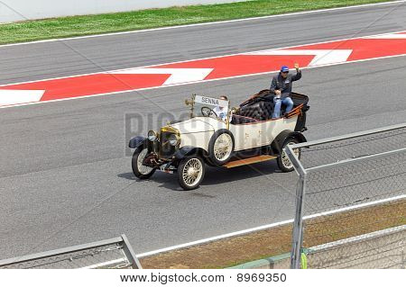 BARCELONA- MAY 9:Bruno Senna of HRT-Cosworth on parade of pilots before a stage of race the Formula