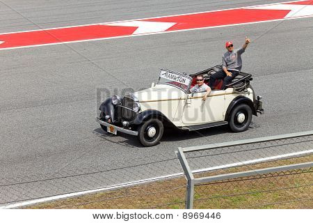 BARCELONA- MAY 9: Lewis Hamilton of McLaren-Mercedes on parade of pilots before a stage of race the