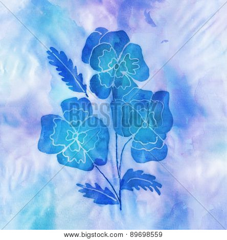 Batic Artwork Of Blue Flowers