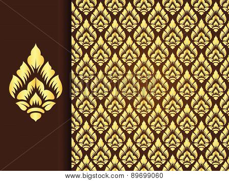 Asian traditional art Design Vector, Thai traditional background ( Lai Thai pattern )
