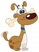 Cartoon of a funny dog with bone in his mouth poster