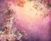 Cherry blossoms illustration on canvas vintage background. Painting style floral art on expressive shabby fabric texture poster