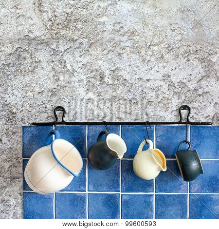 Kitchen Accessories. Hanging Jugs. Retro Design Ceramic Pitchers. White, Dark Green, Light Yellow An