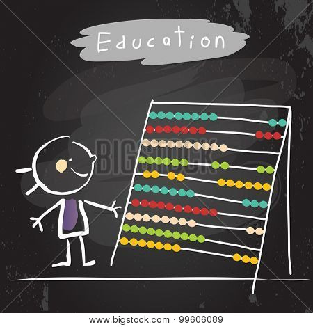 Happy kid with abacus. Education vector illustration, chalk on blackboard hand drawn doodle drawing.