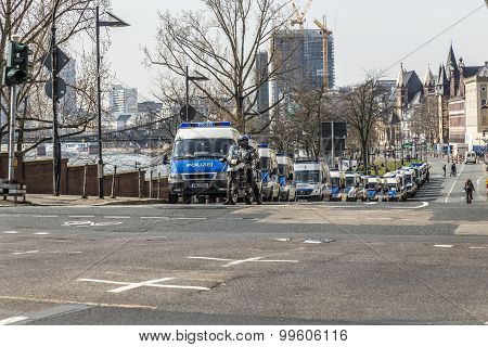 Police Parks Cars Near Demonstration Against Ezb And Capitalism In Frankfurt