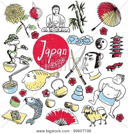 Sketch of Japan tradition object. Collection of Japan culture objects. Handdrawn Japan illustration. Japan pagoda. Traditional elements of Japan culture. Cute doodle of Japan. Travel Japan concept. Adventure in Asia. Japan mountain Fuji. Japan art.