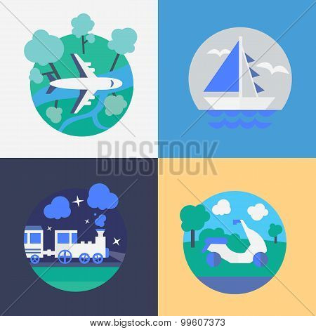 Different Methods of travel. Flat vector illustration. poster