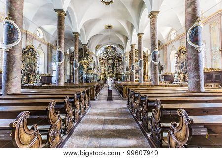 Famous Trunesco Abbey In Traunkirchen