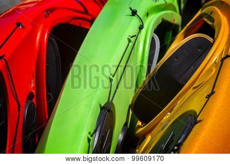 Colorful Kayaks Close Up