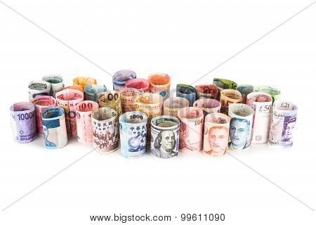Pile Of Rolled-up Currency Notes