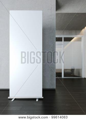 Blank white roll up banner. 3d rendering