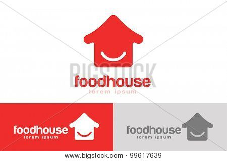 Chinese or japanese fast food restaurant silhouette. Chef logo. House logo icon template. Asian kitchen, home silhouette, cafe uilding, china or japan chef, fast food restaurant, sushi. Japanese food