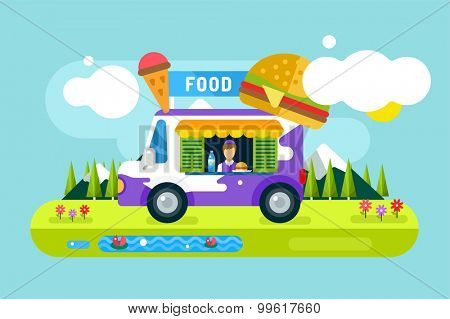 Fast food restaurant car. Food festival outdoor landscape. Take out food. Food car, outdoor kitchen, water bottle, juice box, eating, ice cream, hamburger, hot dogs, fast food restaurant