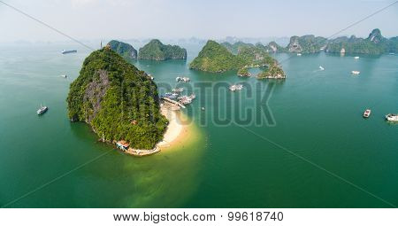 Beautiful panorama view of seascape in Halong bay from high view. Halong bay is famous travel destination in Quang Ninh, Vietnam. poster