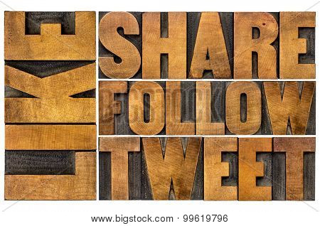 like, share, tweet, follow word abstract  - social media concept - isolated text in vintage letterpress wood type printing blocks