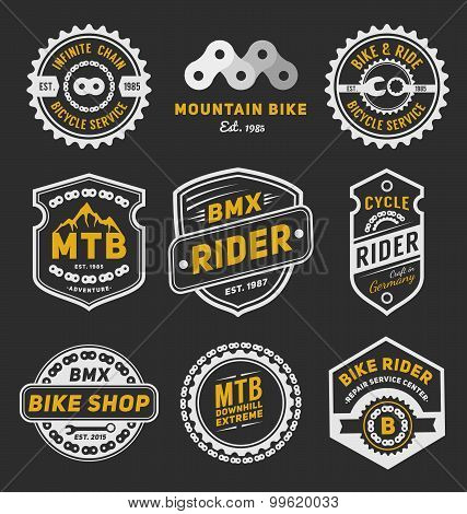 Set Of Bicycle Badge Logo Template Design