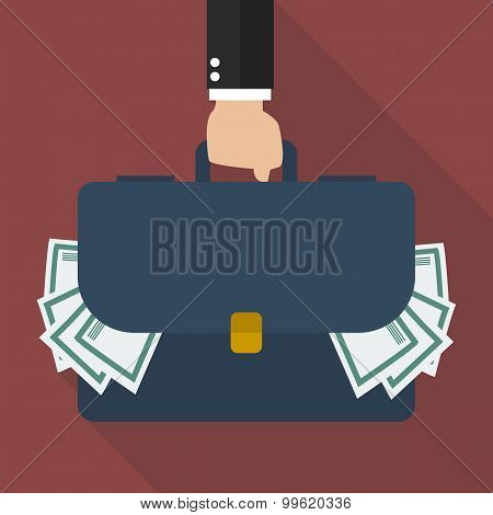 Businessman Hand Holding Briefcase Full Of Money