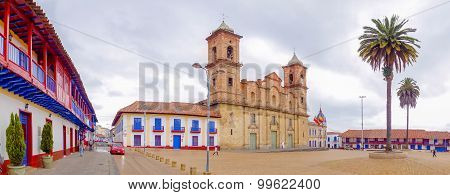 Panoramic view, historic city center Zipaquira, where is located the Cathedral of Diocesana surround