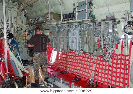 Paratrooper Inside Cargo Airplane