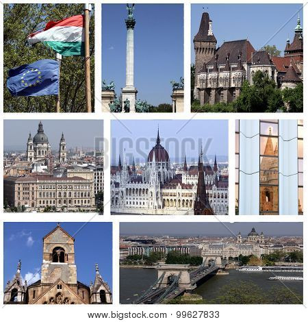 A collage of photographs of places of the Hungarian capital Budapest poster