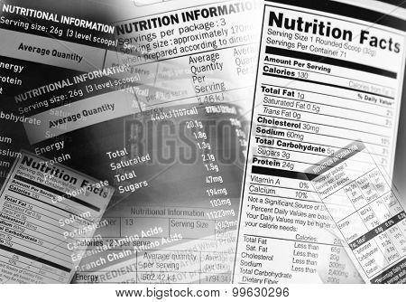 Nutrition information facts on assorted food labels poster