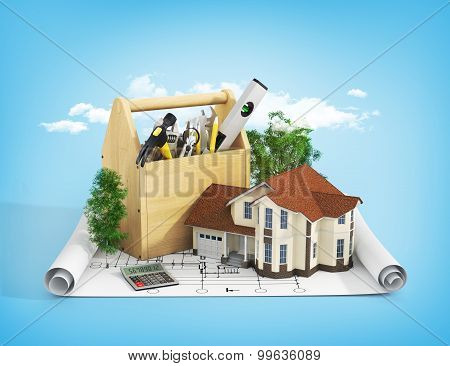 Concept Of Repair And Building House. Repair And Construction Of The House. Tool Box Near A House Wi