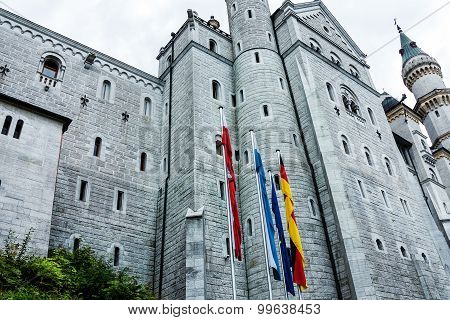 Neuschwanstein Fairytale Castle is a nineteenth- century Romanesque Revival Palace in Bavaria, Germany poster