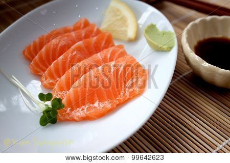 Asian salmon sashimi in a restaurant